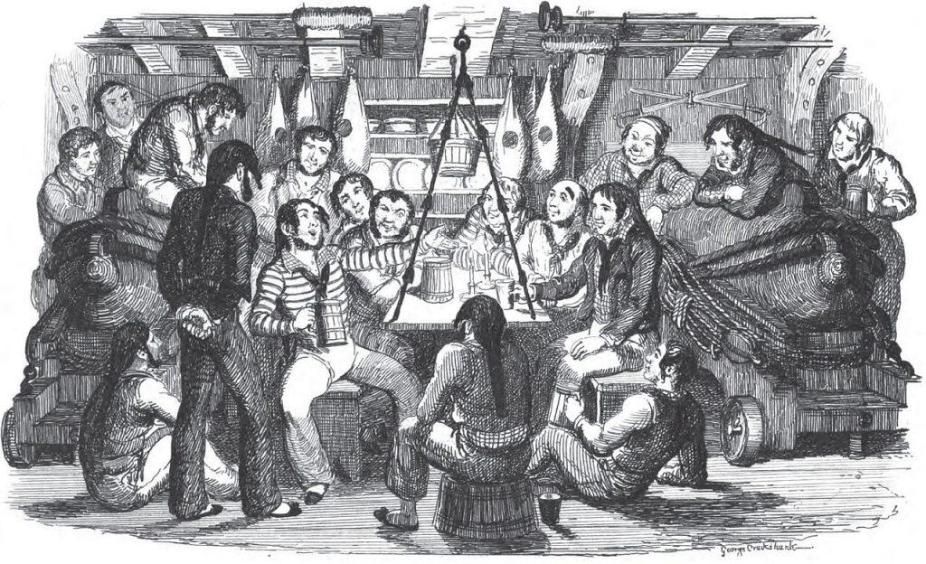 sailors singing a forebitter sea shanty