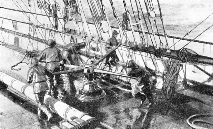 sailors turning the capstan to a shanty